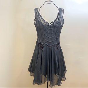Free People Beaded Sequin Sheer Slip Dress XS